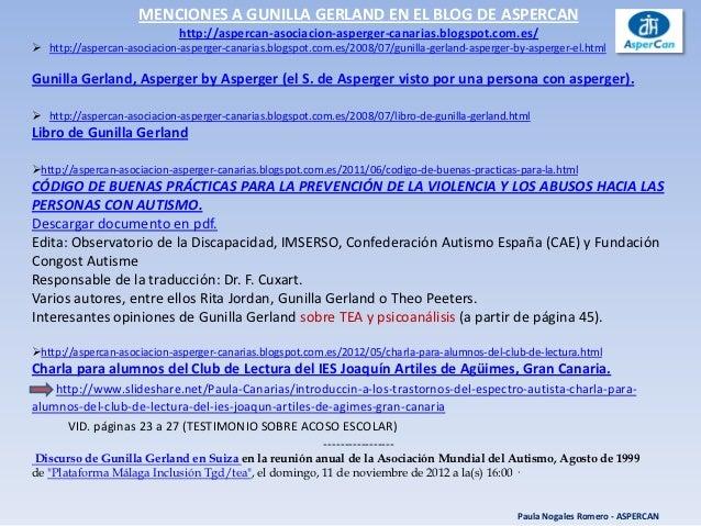 MENCIONES A GUNILLA GERLAND EN EL BLOG DE ASPERCAN                             http://aspercan-asociacion-asperger-canaria...