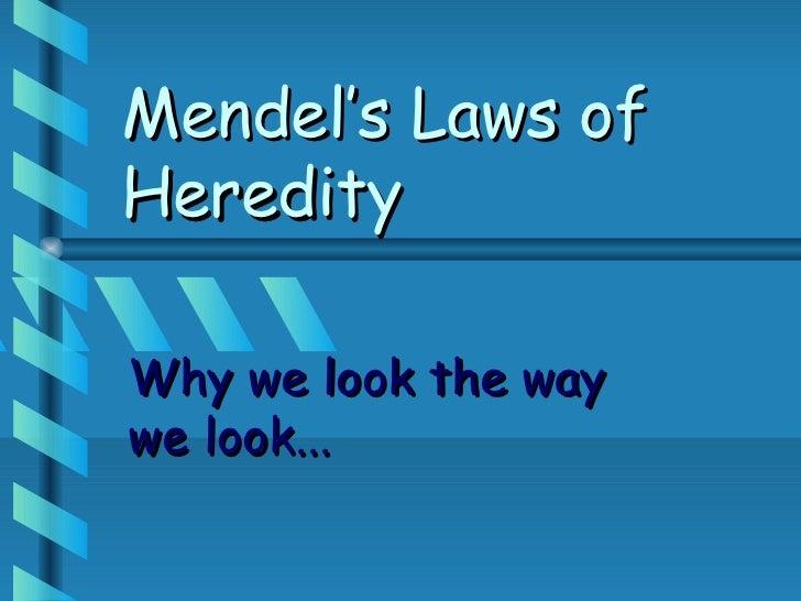 Mendel's Laws ofHeredityWhy we look the waywe look...