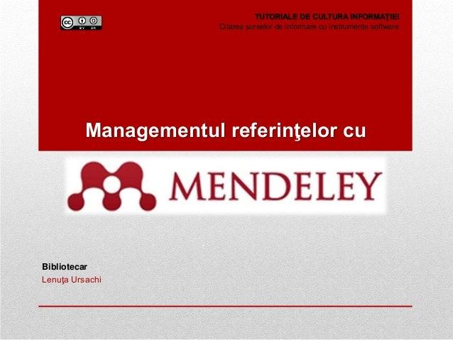 Managementul referintelor cu Mendeley