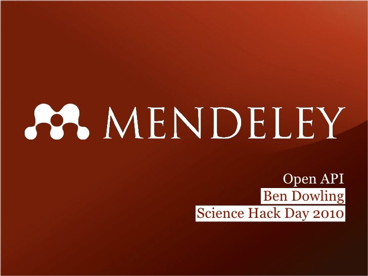 Mendeley Open API