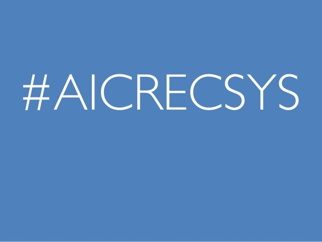 #AICRECSYS