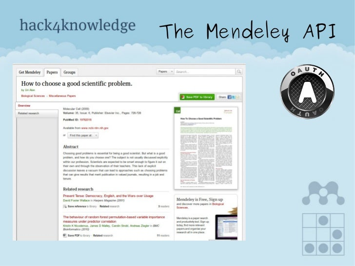 Mendeley api pitch   hack4knowledge