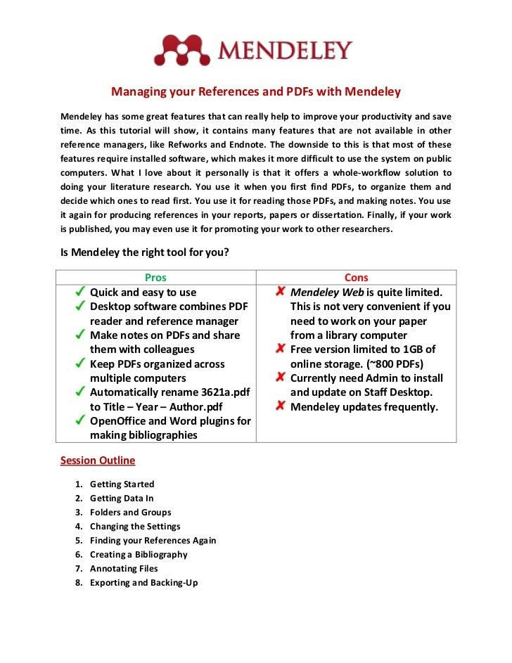 Mendeley Workshop Handout