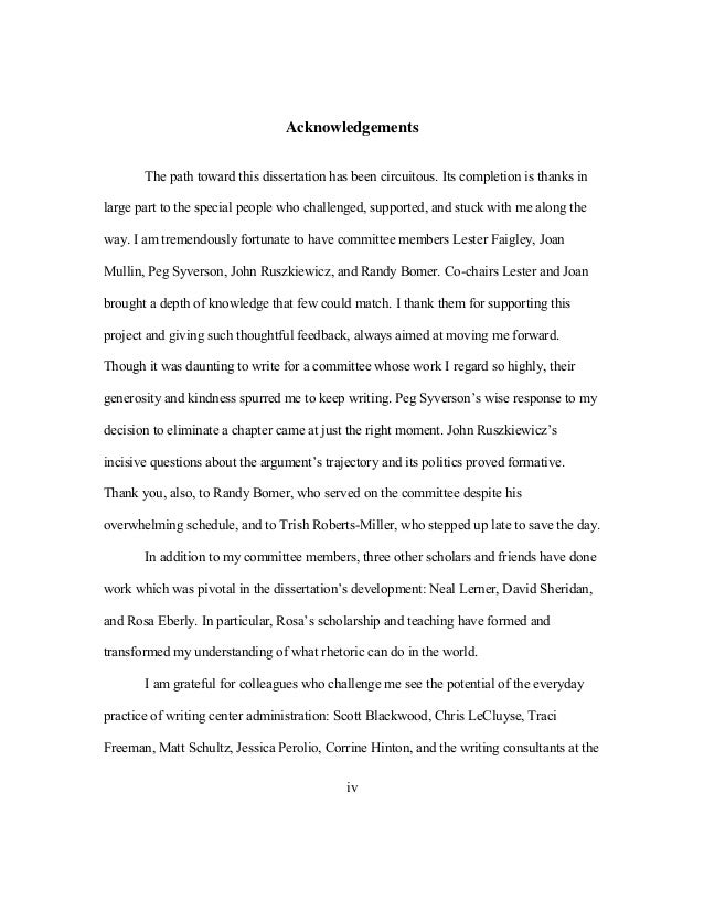 Dissertation proposals & writing dissertations : Acknowledgements