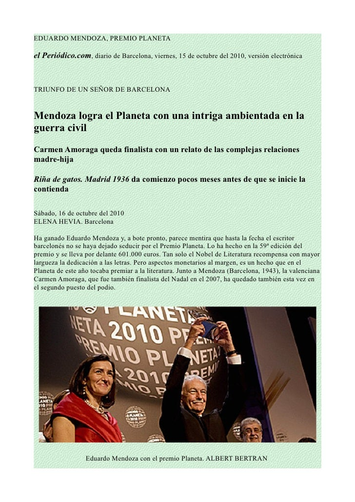 Mendoza obtiene el premio planeta