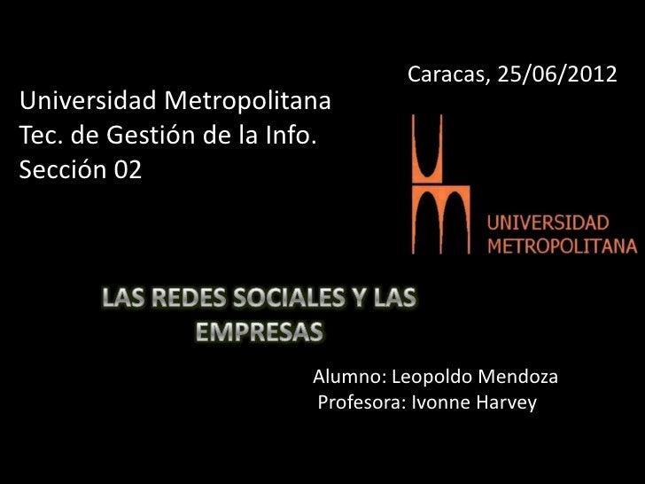 Caracas, 25/06/2012Universidad MetropolitanaTec. de Gestión de la Info.Sección 02                         Alumno: Leopoldo...