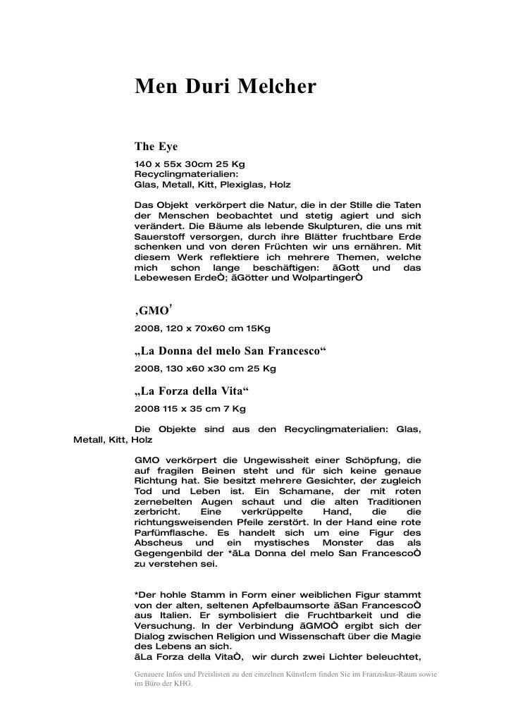 Men Duri Melcher             The Eye            140 x 55x 30cm 25 Kg            Recyclingmaterialien:            Glas, Met...