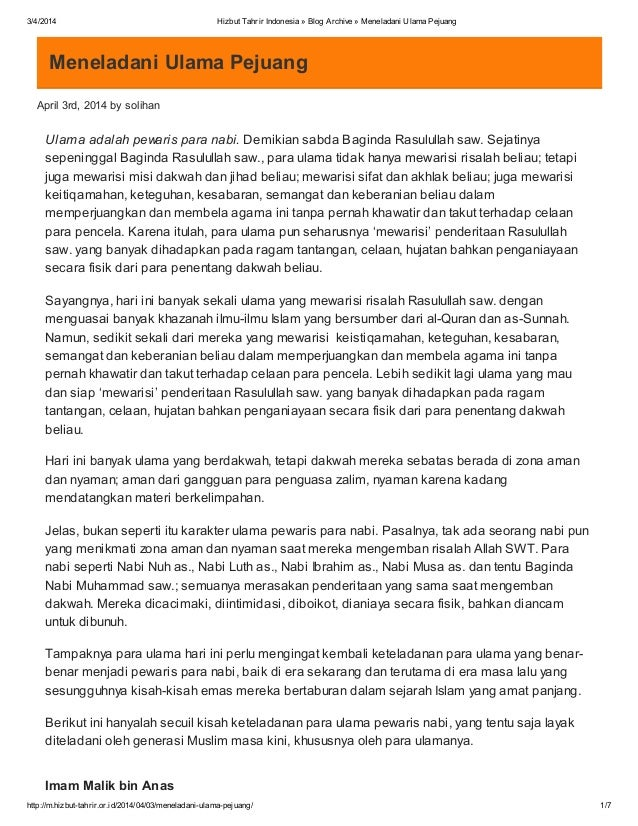 3/4/2014 Hizbut Tahrir Indonesia » Blog Archive » Meneladani Ulama Pejuang http://m.hizbut-tahrir.or.id/2014/04/03/menelad...
