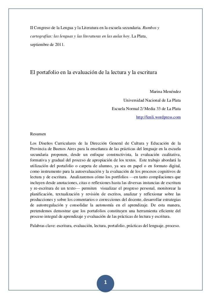 El uso del portfolio en la evaluación de la lectura y la escritura