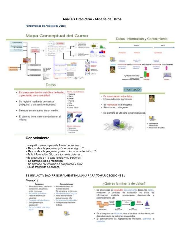 Análisis Predictivo - Minería de DatosFundamentos de Análisis de DatosConocimientoEs aquello que nos permite tomar decisio...