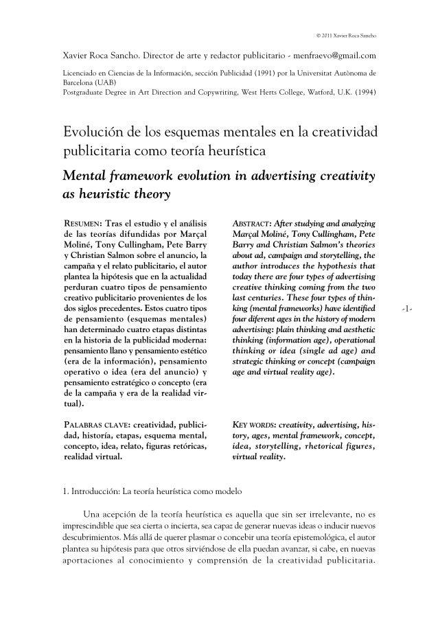 Menfraevo. Evolución de los esquemas mentales en la creatividad publicitaria como teoría heurística.