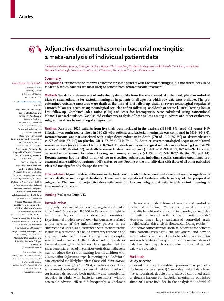 Articles                                            Adjunctive dexamethasone in bacterial meningitis:                     ...