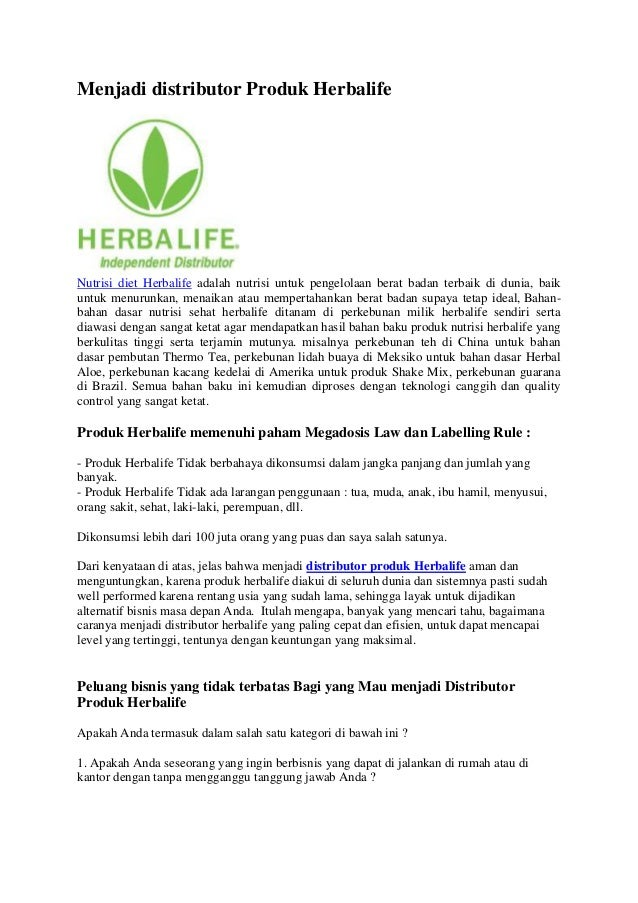 Menjadi distributor produk herbalife