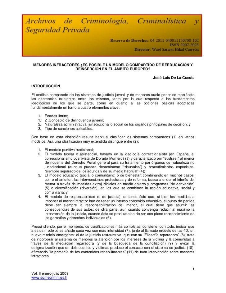 MENORES INFRACTORES ¿ES POSIBLE UN MODELO COMPARTIDO DE REEDUCACIÓN Y                  REINSERCIÓN EN EL ÁMBITO EUROPEO?  ...