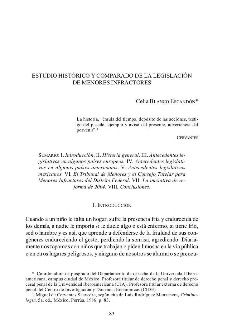 ESTUDIO HISTÓRICO Y COMPARADO DE LA LEGISLACIÓN               DE MENORES INFRACTORES                                      ...