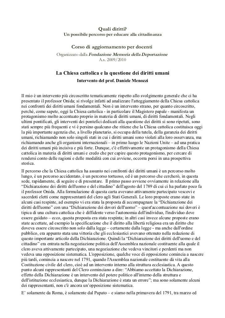 Daniele Menozzi - La Chiesa cattolica e la questione dei diritti umani