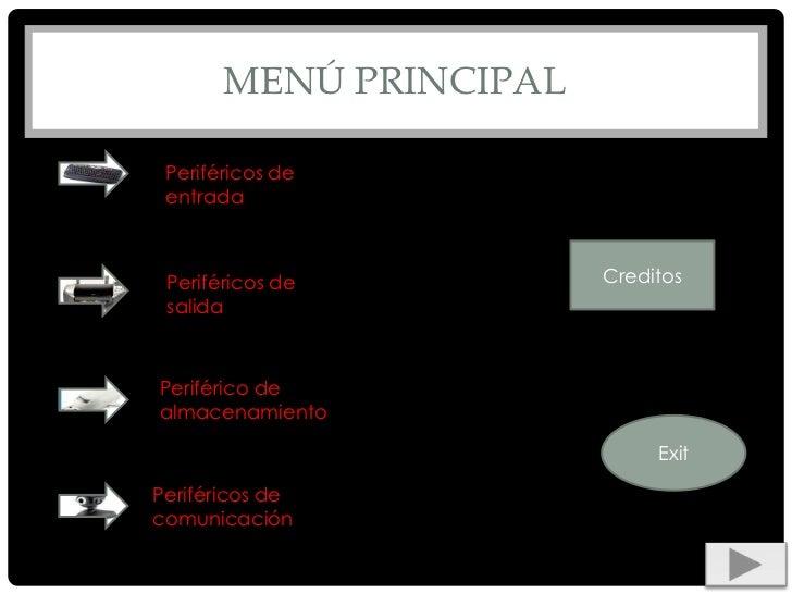 MENÚ PRINCIPAL Periféricos de entrada Periféricos de         Creditos salidaPeriférico dealmacenamiento                   ...