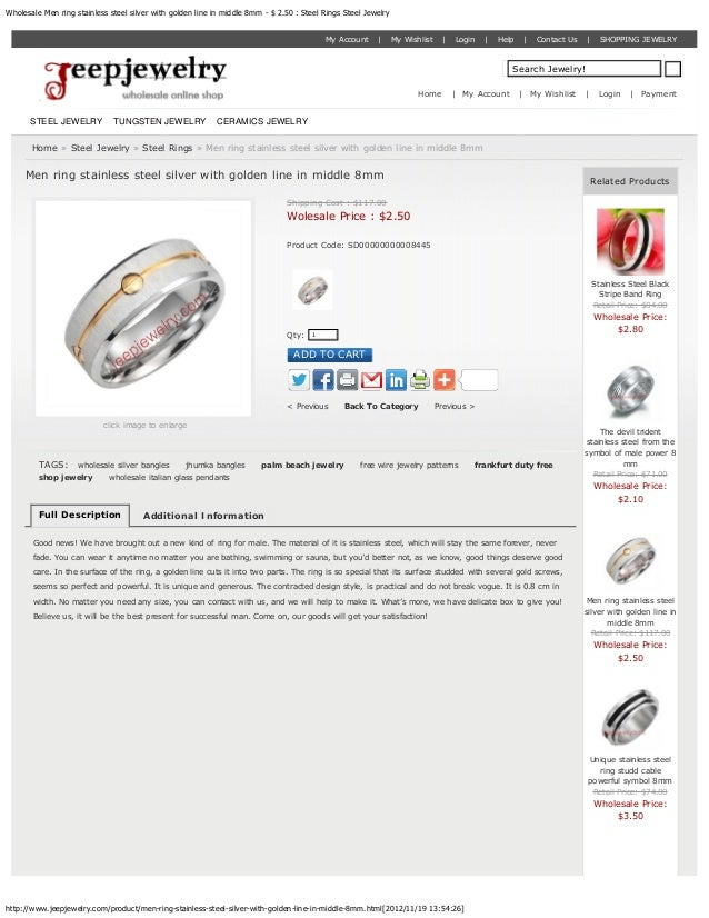 Wholesale Men ring stainless steel silver with golden line in middle 8mm - $ 2.50 : Steel Rings Steel Jewelry             ...