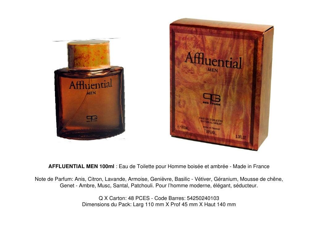 AFFLUENTIAL MEN 100ml : Eau de Toilette pour Homme boisée et ambrée - Made in France  Note de Parfum: Anis, Citron, Lavand...