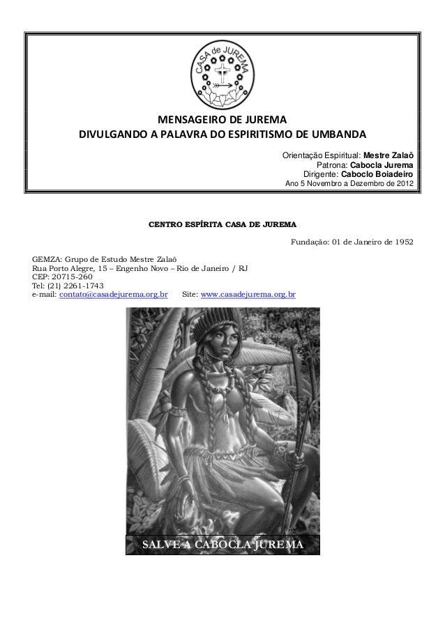 MENSAGEIRO DE JUREMA - Novembro e Dezembro de 2012.