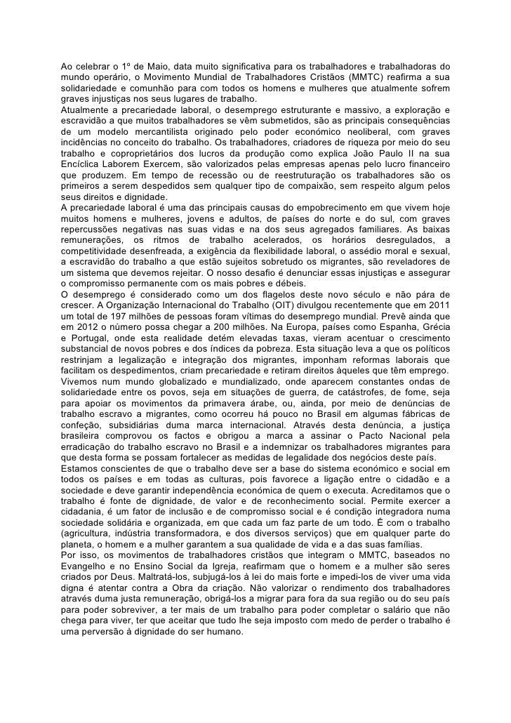 Mensagem do mmtc 1º maio 2012