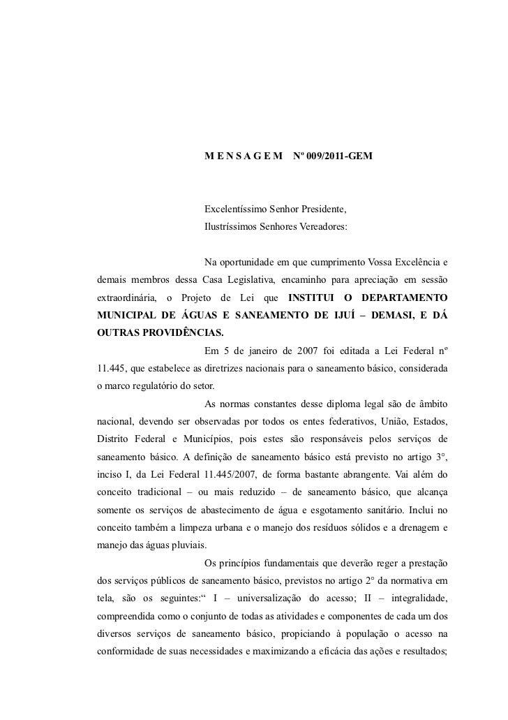 Mensagem nº 009 2011 - Institui Demasi