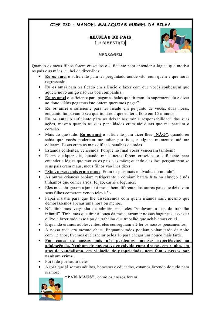 CIEP 230 – MANOEL MALAQUIAS GURGEL DA SILVA                                  REUNIÃO DE PAIS                              ...