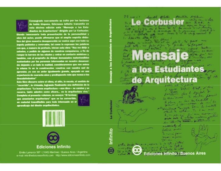 Mensaje a los estudiantes de arquitectura for Arquitectura para la educacion pdf