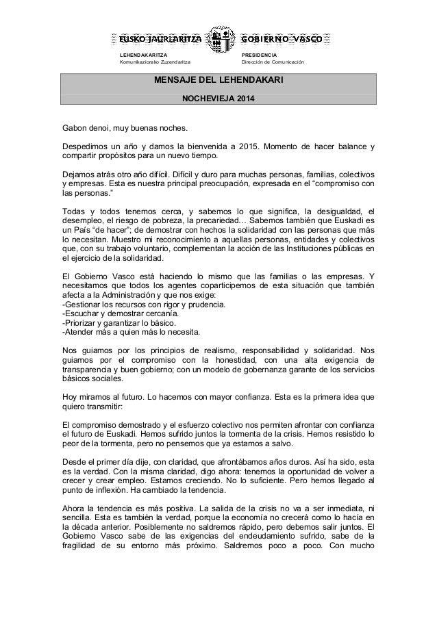 LEHENDAKARITZA Komunikaziorako Zuzendaritza PRESIDENCIA Dirección de Comunicación   MENSAJE DEL LEHENDAKARI NOCHE...