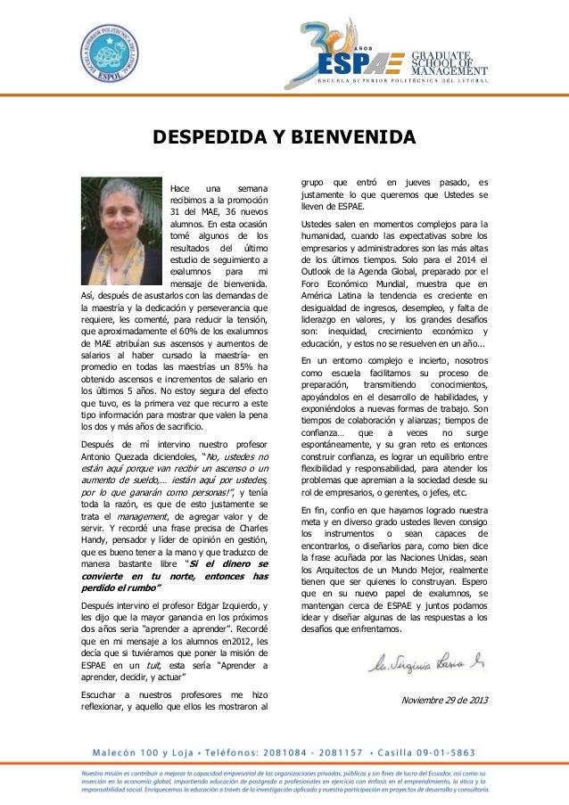 Mensaje de Virginia Lasio a los Graduados de ESPAE