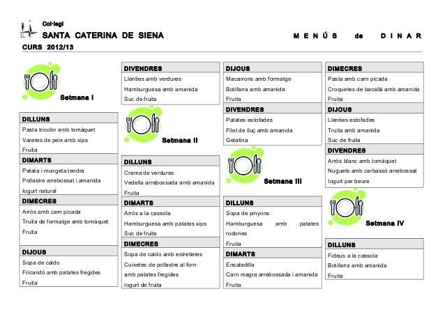 Col·legiSANTA CATERINA DE SIENA M E N Ú S de D I N A RCURS 2012/13Setmana IDILLUNSPasta tricolor amb tomàquetVaretes de pe...