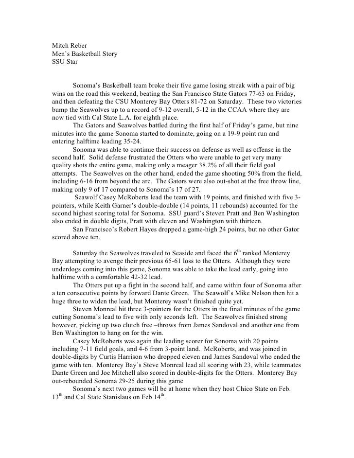 Mitch Reber Men's Basketball Story SSU Star           Sonoma's Basketball team broke their five game losing streak with a ...
