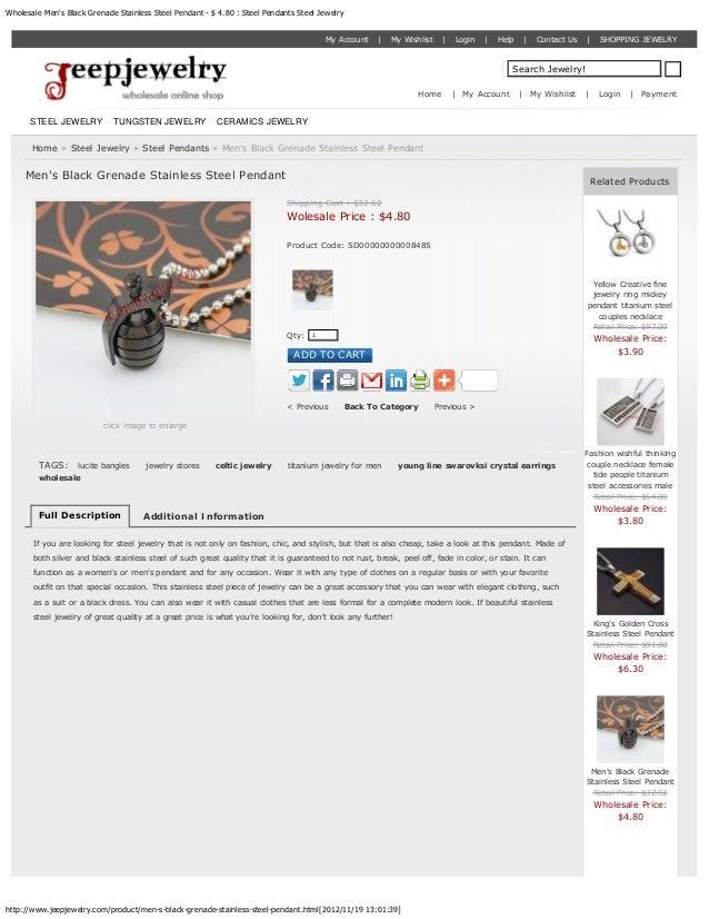 Wholesale Mens Black Grenade Stainless Steel Pendant - $ 4.80 : Steel Pendants Steel Jewelry                              ...
