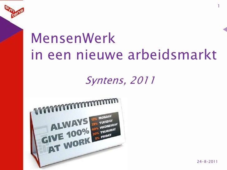 1<br />MensenWerkin een nieuwe arbeidsmarkt<br />Syntens, 2011<br />25-8-2011<br />