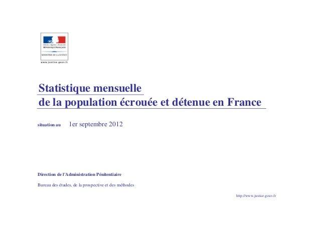 Statistique mensuellede la population écrouée et détenue en Francesituation au    1er septembre 2012Direction de lAdminist...
