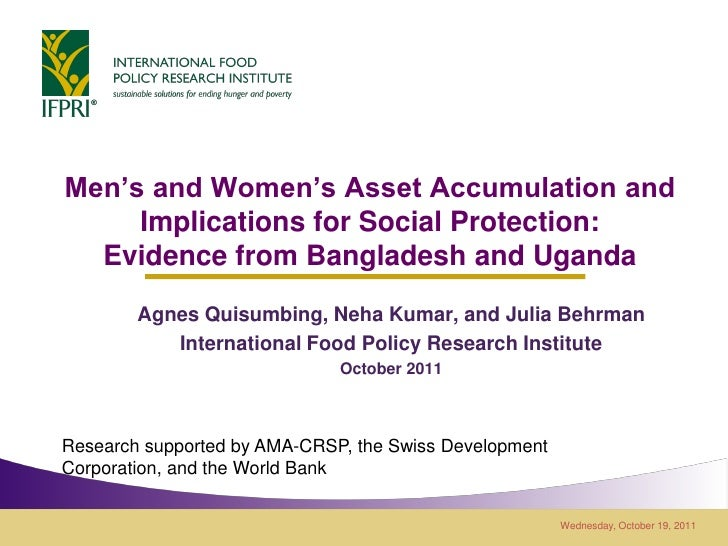 Men's and Women's Asset Accumulation and     Implications for Social Protection:  Evidence from Bangladesh and Uganda     ...