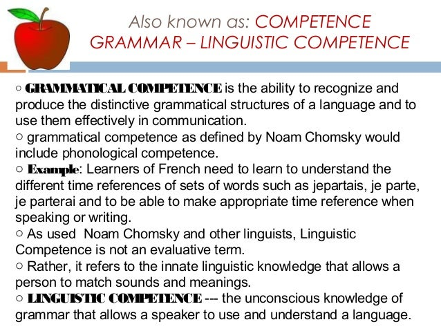 a test on grammatical competence A speaker's 'linguistic competence' would be made up of grammatical competence ('abstract' or decontextualized knowledge of intonation, phonology, syntax, semantics, etc) and pragmatic competence (the ability to use language effectively in order to achieve a specific purpose and to understand language in context.