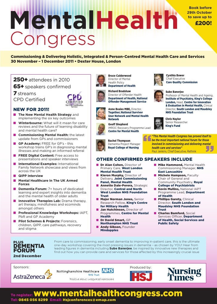 Mental health congress 2011 brochure for Free mental health brochures