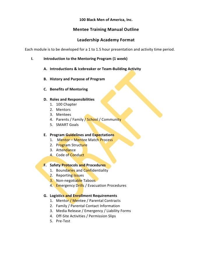 100 Black Men of America, Inc.                            Mentee Training Manual Outline                               Lea...