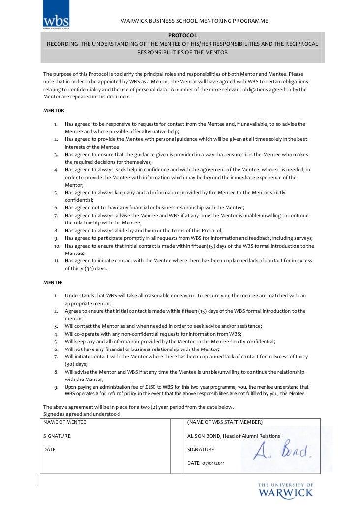 WARWICK BUSINESS SCHOOL MENTORING PROGRAMME                                      PROTOCOL RECORDING THE UNDERSTANDING OF T...