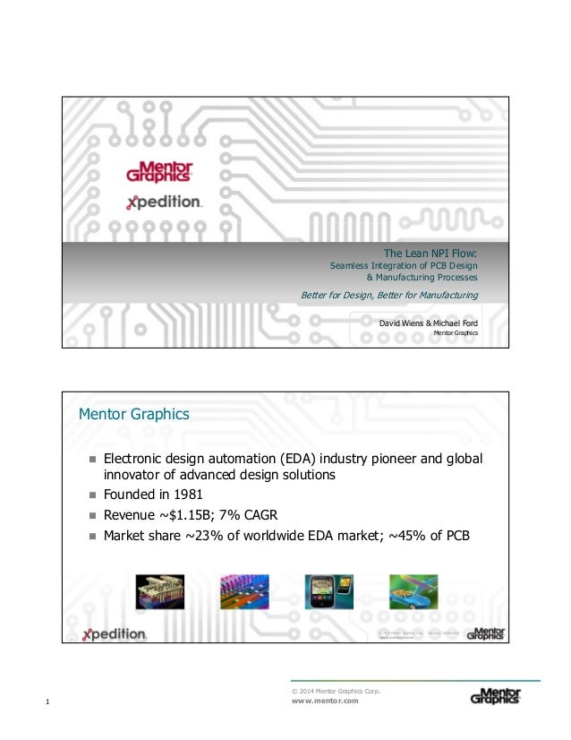 © 2014 Mentor Graphics Corp. www.mentor.com1 The Lean NPI Flow: Seamless Integration of PCB Design & Manufacturing Process...