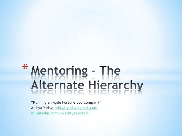 Mentoring - The Alternate Hierarchy - Aditya Yadav