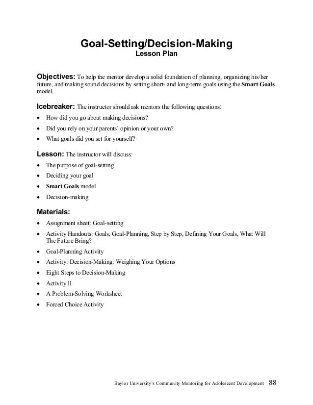 Decision making worksheets for college students