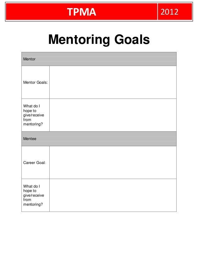 TPMA            2012                Mentoring GoalsMentorMentor Goals:What do Ihope togive/receivefrommentoring?MenteeCare...