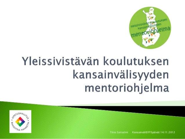 Mentoriohjelma kansainvalisyyspaivat 2012