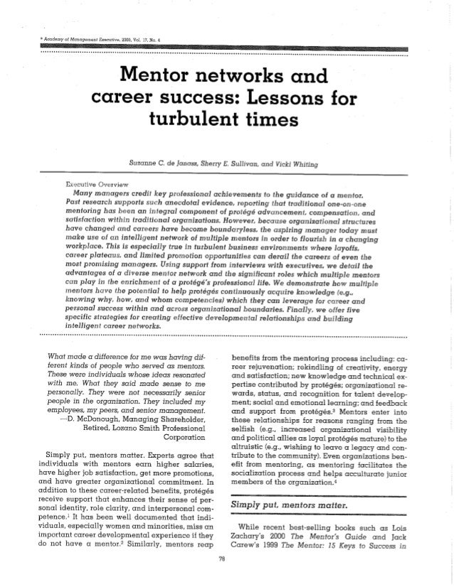 Mentor networks and career success   lessons for turbulent times
