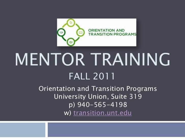 Mentor training  2011-2012