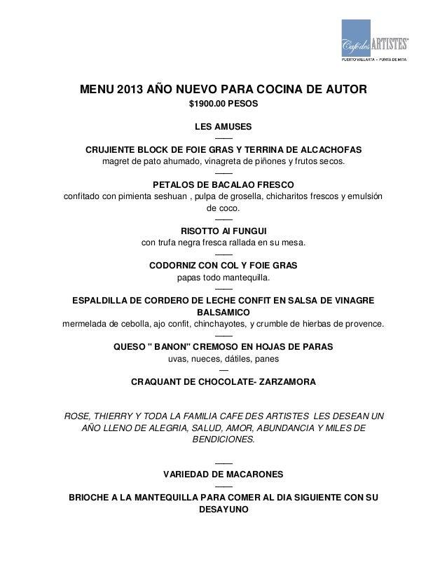 Menu a o nuevo para cocina de autor 2014 esp ing for Nuevo programa de cocina