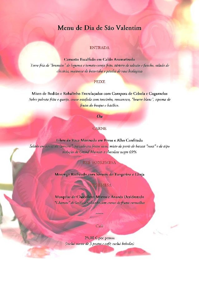 Menu de São Valentim / Valentine's Day Menu