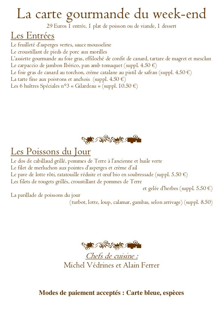 Menu gourmand  du weekend du 23 au 25 mars 2012